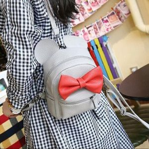Minnie Mouse gray with red bow mini backpack